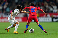 CARSON, CA - FEBRUARY 7: Christen Press #20 of the United States dribbles during a game between Mexico and USWNT at Dignity Health Sports Park on February 7, 2020 in Carson, California.