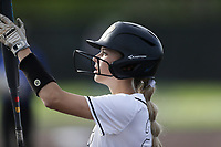 Bentonville left fielder Alleyna Rushing (24) prepares to bat, Thursday, April 29, 2021 during a softball game at Bentonville High School in Bentonville. Check out nwaonline.com/210430Daily/ for today's photo gallery. <br /> (NWA Democrat-Gazette/Charlie Kaijo)