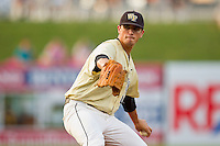 Wake Forest Demon Deacons starting pitcher Brian Holmes #45 delivers a pitch to the plate against the Miami Hurricanes at NewBridge Bank Park on May 25, 2012 in Winston-Salem, North Carolina.  The Hurricanes defeated the Demon Deacons 6-3.  (Brian Westerholt/Four Seam Images)