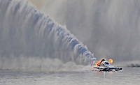 Jul. 19, 2009; Augusta, GA, USA; IHBA top fuel hydro driver Ron McLellan blows his engine in the final round during the Augusta Southern Nationals on the Savannah River. Mandatory Credit: Mark J. Rebilas-