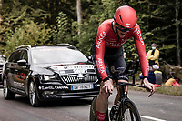 Connor Swift (GBR/Arkea-Samsic) on the steep parts of the individual time trial up the infamous Planche des Belles Filles<br /> <br /> Stage 20 (ITT) from Lure to La Planche des Belles Filles (36.2km)<br /> <br /> 107th Tour de France 2020 (2.UWT)<br /> (the 'postponed edition' held in september)<br /> <br /> ©kramon