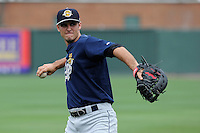 Infielder Gregory Bird (32) of the Charleston RiverDogs before a game against the Greenville Drive on Sunday, May 19, 2013, at Fluor Field at the West End in Greenville, South Carolina. Bird is the No. 22 prospect for the New York Yankees, according to Baseball America. Charleston won, 9-7. (Tom Priddy/Four Seam Images)