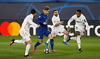 April 27th 2021; Alfredo Di Stefano Stadium, Madrid, Spain; UEFA Champions League. Chelsea's Timo Werner breaks the Real defensive line during the Champions League match, semifinals between Real Madrid and Chelsea FC played at Alfredo Di Stefano Stadium