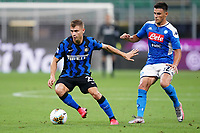 Nicolo Barella of FC Internazionale and Giovanni Di Lorenzo of SSC Napoli compete for the ball during the Serie A football match between FC Internazionale and SSC Napoli at San Siro stadium in Milano (Italy), July 28th, 2020. Play resumes behind closed doors following the outbreak of the coronavirus disease. Photo Marco Canoniero / Insidefoto