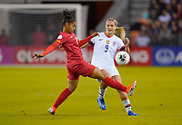 HOUSTON, TX - JANUARY 31: Lindsey Horan #9 of the United States moves to the ball during a game between Panama and USWNT at BBVA Stadium on January 31, 2020 in Houston, Texas.