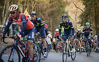 Alejandro Valverde (ESP/Movistar team) up the (new) Côte de la Ferme Libert<br /> <br /> 103rd Liège-Bastogne-Liège 2017 (1.UWT)<br /> One Day Race: Liège › Ans (258km)