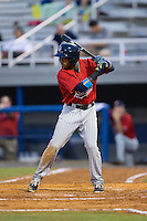 Manuel Guzman (7) of the Elizabethton Twins at bat against the Kingsport Mets at Hunter Wright Stadium on July 8, 2015 in Kingsport, Tennessee.  The Mets defeated the Twins 8-2. (Brian Westerholt/Four Seam Images)