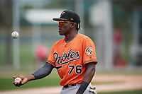 Baltimore Orioles JC Encarnacion (76) during a Minor League Spring Training game against the Boston Red Sox on March 20, 2019 at the Buck O'Neil Baseball Complex in Sarasota, Florida.  (Mike Janes/Four Seam Images)
