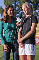 Santa Clara, CA - September 22, 2013:  Taylor Uhl with ESPN interviewer and former Stanford great Julie Foudy before Stanford's 3-2 double overtime victory over Santa Clara at Buck Shaw Stadium, Santa Clara.