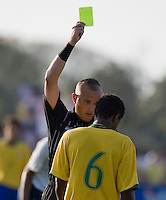 Brazil's Eron (6) receives a yellow card. 2007 Nike Friendlies, which are taking place from Dec. 6-9 at IMG Academies in Bradenton, Fla.
