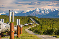 Trans Alaska oil pipeline traverses the tundra near the pass of the Alaska mountain range, south of Delta Junction, Alaska.