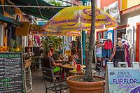 Philipsburg, Sint Maarten.  Old Street Sidewalk Cafe.