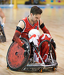 MISSISSAUGA, ON, AUGUST 12, 2015. Wheelchair Rugby - Canada vs USA in preliminary action. USA won the game 60-59 in double overtime - Cody Caldwell<br /> Photo: Dan Galbraith/Canadian Paralympic Committee