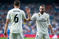 Real Madrid Nacho Fernandez and Dani Carvajal during La Liga match between Real Madrid and Getafe CF at Santiago Bernabeu in Madrid, Spain. August 19, 2018.  *** Local Caption *** © pixathlon<br /> Contact: +49-40-22 63 02 60 , info@pixathlon.de