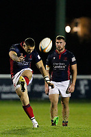 Dan Barnes of London Scottish converts the penalty during the Greene King IPA Championship match between London Scottish Football Club and Yorkshire Carnegie at Richmond Athletic Ground, Richmond, United Kingdom on 1 November 2019. Photo by Carlton Myrie / PRiME Media Images