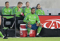 LOS ANGELES, CA - OCTOBER 29: Roman Torres #29 of the Seattle Sounders FC cheers on his teammates during a game between Seattle Sounders FC and Los Angeles FC at Banc of California Stadium on October 29, 2019 in Los Angeles, California.
