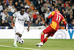 Real Madrid's Raphael Varane and Galatasaray's Albert Riera during the quarter final Champion League match. April 3, 2013.(ALTERPHOTOS/Alconada)