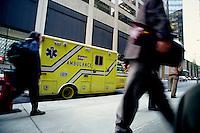 1987 File Photo - Montreal (Qc) Canada -- Montreal paramedics ambulance