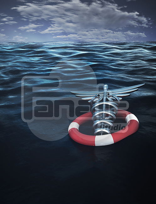 Caduceus Symbol with inflated tube floating on water representing medical insurance