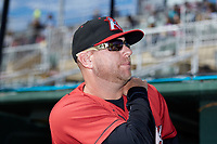 Kannapolis Intimidators manager Ryan Newman (5) prior to the game against the Lexington Legends at Kannapolis Intimidators Stadium on May 15, 2019 in Kannapolis, North Carolina. The Legends defeated the Intimidators 4-2. (Brian Westerholt/Four Seam Images)