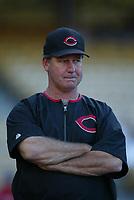 Cincinnati Reds coach Don Gullett during a 2003 season MLB game at Dodger Stadium in Los Angeles, California. (Larry Goren/Four Seam Images)