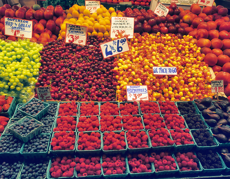 Fruit stand at Pike's Market. Seattle, Washington