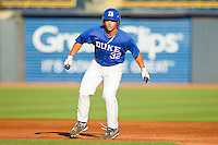 Jeff Kremer #32 of the Duke Blue Devils takes his lead off of first base against the Virginia Cavaliers at Durham Bulls Athletic Park on April 20, 2012 in Durham, North Carolina.  The Blue Devils defeated the Cavaliers 6-3.  (Brian Westerholt/Four Seam Images)