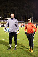 Goalkeeper coach Frank Verwimp of Woluwe and goalkeeper Willeke Willems (1) of Woluwe pictured during the warm up before a female soccer game between FC Femina White Star Woluwe and AA Gent Ladies on the 13 th matchday of the 2020 - 2021 season of Belgian Scooore Womens Super League , friday 5 th of February 2021  in Woluwe , Belgium . PHOTO SPORTPIX.BE | SPP | SEVIL OKTEM