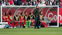 CARSON, CA - FEBRUARY 9: Kenneth Heiner-moller head coach of  Canada and his bench during a game between Canada and USWNT at Dignity Health Sports Park on February 9, 2020 in Carson, California.