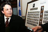 Quebec City ? March 29, 2007. New ADQ MNA Simon-Pierre Diamond speaks with the media in front of the 2003 MNAs photos as he arrives at the National Assembly on March 29 2007 for the first ADQ caucus as the official opposition following Monday?s provincial election.  At only 22 years old, Diamond is one of the youngest politicians ever elected in Canada.<br /> <br /> PHOTO :  Francis Vachon - Agence Quebec Presse