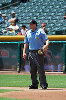 Home plate umpire Brandon Misun during the game as the Nashville Sounds played the Salt Lake Bees at Smith's Ballpark on June 22, 2014 in Salt Lake City, Utah.  (Stephen Smith/Four Seam Images)