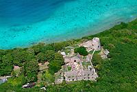 Aerial view of Annaberg Sugar Plantation<br /> Virgin Islands National Park<br /> St. John, U.S. Virgin Islands