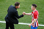 Atletico de Madrid's coach Diego Pablo Cholo Simeone (l) with Kevin Gameiro during La Liga match. March 19,2017. (ALTERPHOTOS/Acero)