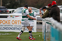 Jordan Burns of Ealing Trailfinders celebrates with Lewis Jones during the Championship Cup Quarter Final match between Ealing Trailfinders and Nottingham Rugby at Castle Bar , West Ealing , England  on 2 February 2019. Photo by Carlton Myrie / PRiME Media Images.
