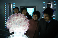 CHINA. Shanghai. Visitors look at a model of the HIV virus  in the Shanghai Science and Technology Museum (?????; pinyin: Shàngh?i ke¯jì gu?n) is a large museum in Pudong, Shanghai, close to Century Park, the largest park of the city. The construction of the museum cost 1,75 billion RMB, and the floor area is 98 000m2 .2008..