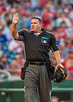 15 August 2017: MLB Umpire Tony Randazzo works home plate during a game between the Washington Nationals and the Los Angeles Angels at Nationals Park in Washington, DC. The Nationals defeated the Angels 3-1 in the first game of their 2-game series. Mandatory Credit: Ed Wolfstein Photo *** RAW (NEF) Image File Available ***