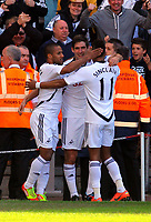 FAO SPORTS PICTURE DESK<br /> Pictured: Danny Graham of Swansea (C) celebrating his goal with team mates Wayne Routledge (L) and Scott Sinclair (R). Sunday, 13 May 2012<br /> Re: Premier League football, Swansea City FC v Liverpool FC at the Liberty Stadium, south Wales.