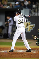 UCF Knights right fielder Eli Putnam (34) at bat during a game against the Siena Saints on February 17, 2017 at UCF Baseball Complex in Orlando, Florida.  UCF defeated Siena 17-6.  (Mike Janes/Four Seam Images)