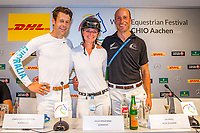 1st: GER-Julia Krajewski and Chipmunk FRH; 2nd: AUS-Christopher Burton and Quality Purdy; 3rd: NZL-Tim Price and Cekatinka; during the DHL-Preis CICO3* Eventing Final Press Conference. 2018 GER-Weltfest des Pferdesports CHIO Aachen. Saturday 21 July. Copyright Photo: Libby Law Photography