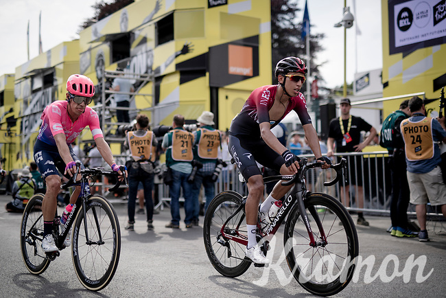Egan Bernal Gomez (COL/Ineos) & Rigoberto Uran (COL/EF EducationFirst) crossing the finish line together in a 2nd group (after a crash split the peloton in the race finale)<br /> <br /> Stage 1: Brussels to Brussels(BEL/192km) 106th Tour de France 2019 (2.UWT)<br /> <br /> ©kramon