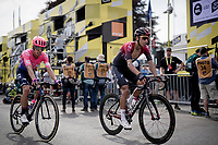 Egan Bernal Gomez (COL/Ineos) & Rigoberto Uran (COL/EF EducationFirst) crossing the finish line together in a 2nd group (after a crash split the peloton in the race finale)<br /> <br /> Stage 1: Brussels to Brussels (BEL/192km) 106th Tour de France 2019 (2.UWT)<br /> <br /> ©kramon