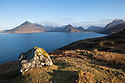 View of the Cuillin Hills across Loch Scavaig from Elgol. Isle of Skye, Inner Hebrides, Scotland, UK. April.