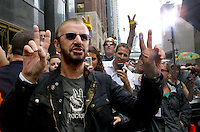 Ringo Starr celebrates his 68th birthday by holding a downtown peace party outside the Hard Rock Hotel (230 N. Michigan) Monday, July 7, 2008, in Chicago. The former Beatle was asking everyone around the world to flash a peace sign at the stroke of noon, local time.  (Chicago Tribune photo by Charles Osgood)   ..OUTSIDE TRIBUNE CO.- NO MAGS,  NO SALES, NO INTERNET, NO TV, CHICAGO OUT.. 00295629A PEACE