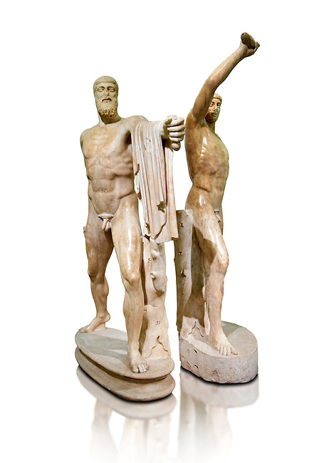 2nd century AD Roman marble sculpture of Harmodius (inv 6009) and Aristogeiton (inv 6010) known as the Tyrannicide group, inv 6307, a Roman copy of an early classical period Geek original, Naples Museum of Archaeology, Italy