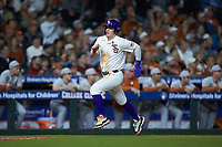 Daniel Cabrera (8) of the LSU Tigers hustles towards home plate against the Texas Longhorns in game three of the 2020 Shriners Hospitals for Children College Classic at Minute Maid Park on February 28, 2020 in Houston, Texas. The Tigers defeated the Longhorns 4-3. (Brian Westerholt/Four Seam Images)