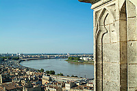 Townscape and the Garonne river seen from a tower in Gironde, Bordeaux, France.