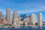 The Boston skyline over Boston Harbor, Boston, Massachusetts, USA