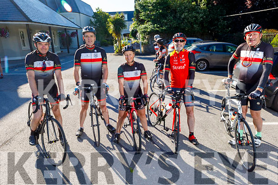 Thomas O'Mahoney, Noel Rooney, Andrea O'Connor, Seamus O'Donovan and Tom Galvin members of the Chain Gang Cycling club, ready for road as they gather in the Meadowlands Hotel on Saturday morning
