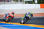 VALENCIA, SPAIN - NOVEMBER 11: Valentino Rossi, Marc Marquez during Valencia MotoGP 2016 at Ricardo Tormo Circuit on November 11, 2016 in Valencia, Spain