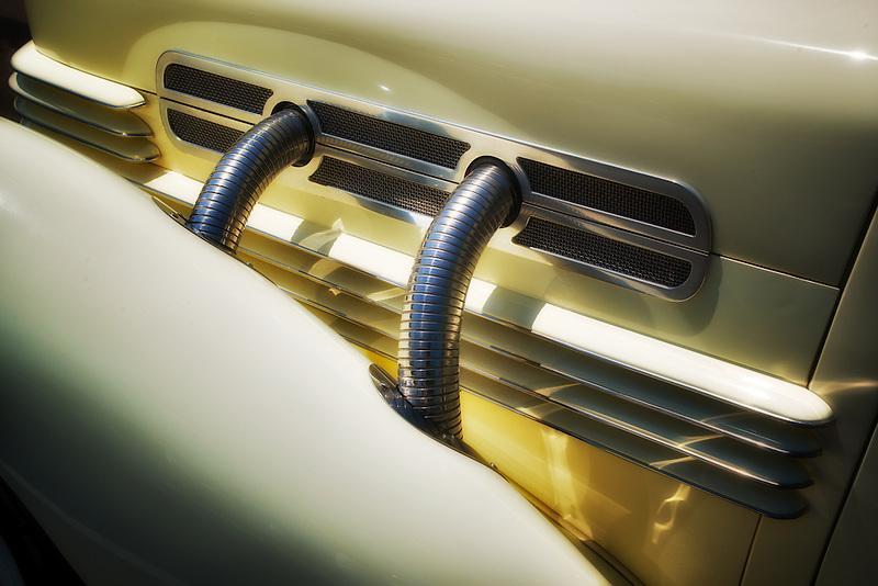 Close up of 1937 Cord, Model 812 s/c Westchester. Wilsonville, Oregon